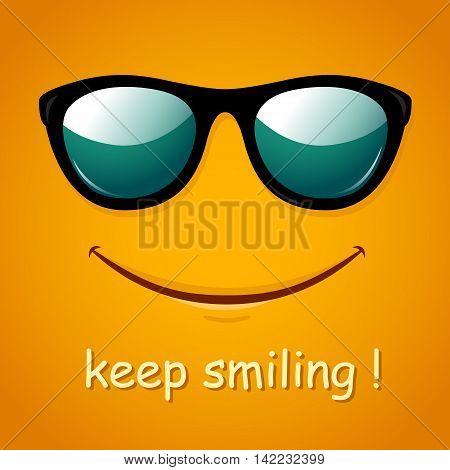 Smiley face. Yellow smile poster. World smile day. Vector illustration. Funny summer background.