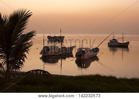 CAMPECHE MEXICO - JULY 8 2016: Five Mexican panga fishing boats sit quietly moored near shore in the calm water of the Gulf of Mexico at the day's end.