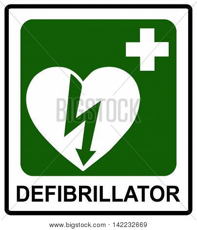 Automated external heart defibrillator safe condition vector sign Emergency sticker label for public places isolated on white with text.