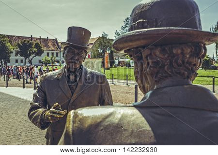 Alba Carolina Citizens Bronze Statues