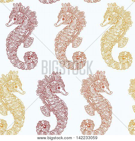 Seamless vector seahorse pattern with hand drawn doodle ornate seahorse ilustrations