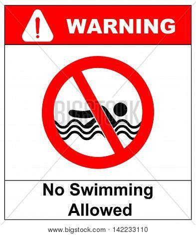 No swimming allowedwarning signs. vector illustration Prohobition sticker label for public places like sea, ocean, beatches, swimming pool. Informational banner