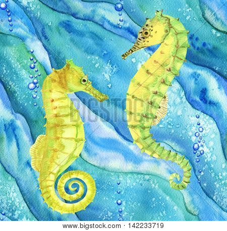 Seamless pattern with seahorses in ocean. Hand drawn watercolor illustration