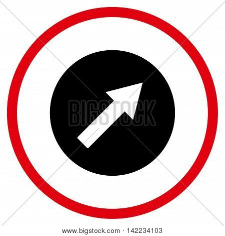 Up-Right Rounded Arrow vector icon. Style is bicolor flat rounded iconic symbol, up-right rounded arrow icon is drawn with intensive red and black colors on a white background.