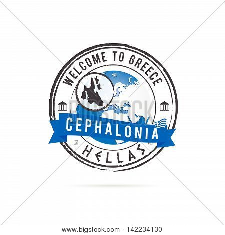 Grunge Rubber Stamp With Blue Ribbon And Greek Island Cephalonia Illustration