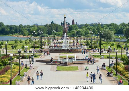 YAROSLAVL, RUSSIA - JULY 10, 2016: View of the alley of fountains and the monument in honor of the 1000th anniversary of Yaroslavl on the Strelka of the rivers Volga and Kotorosl. Tourist landmark