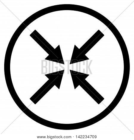 Center Arrows vector icon. Style is flat rounded iconic symbol, center arrows icon is drawn with black color on a white background.