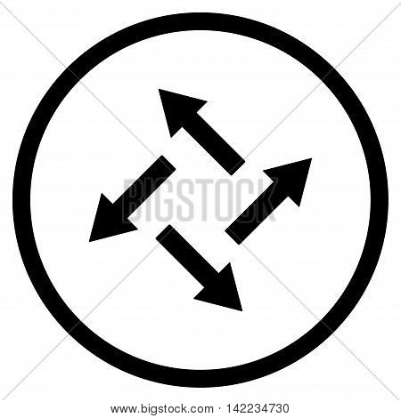 Centrifugal Arrows vector icon. Style is flat rounded iconic symbol, centrifugal arrows icon is drawn with black color on a white background.
