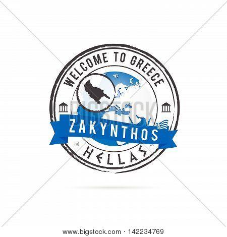 Grunge Rubber Stamp With Blue Ribbon And Greek Island Zakynthos Illustration
