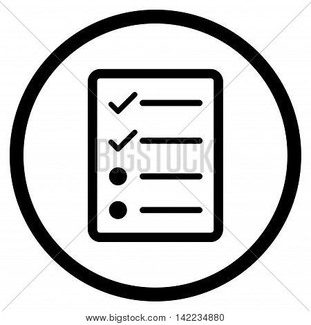 Checklist Page vector icon. Style is flat rounded iconic symbol, checklist page icon is drawn with black color on a white background.