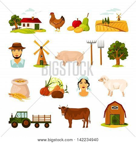 Flat farm set with farmers cattle harvest farmhouse and equipment on white background isolated vector illustration