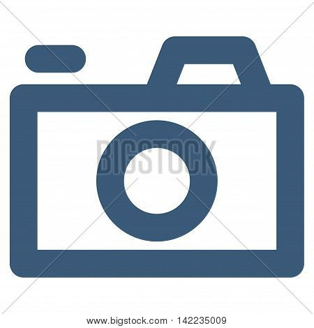 Camera vector icon. Style is outline flat icon symbol, blue color, white background.