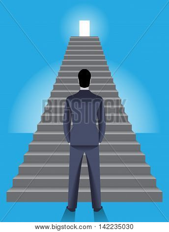 Corporate ladder business concept. Young confident businessman stands in front of big ladder with shining door on top of it. Concept of career growth and corporate success.