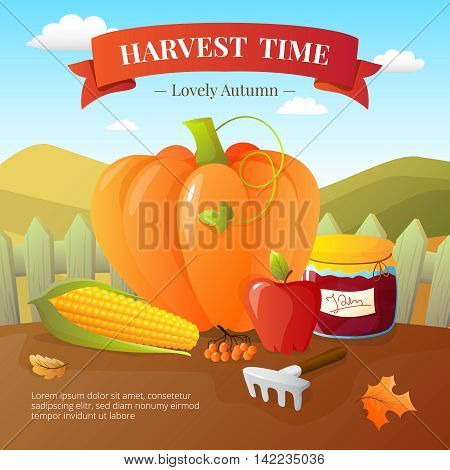Vegetables crops and fruits harvest with pumpkin paprika flat poster with  countryside landscape background cartoon vector illustration