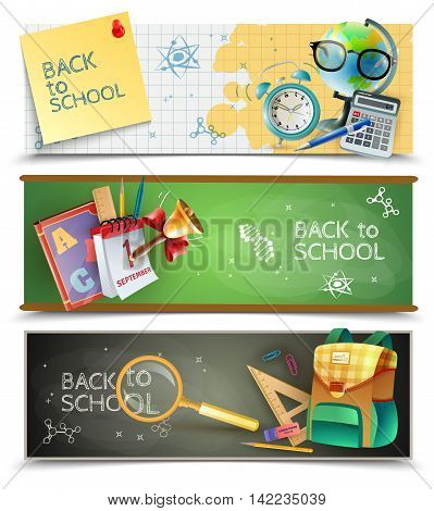 Back to school 3 horizontal banners set with chalkboards textbooks and  lessons accessories isolated vector illustration