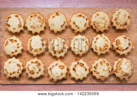 Top View Of Eighteen Freshly Baked Muffins Stuffed With Boiled Condensed Milk