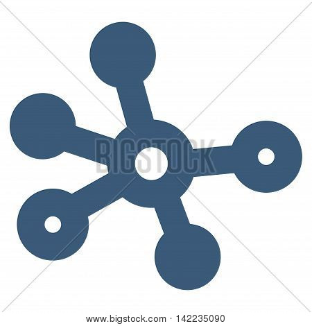 Connections vector icon. Style is stroke flat icon symbol, blue color, white background.