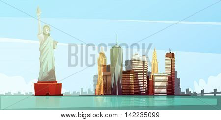 New york skyline design concept with statue of liberty empire state building chrysler building freedom tower flat vector illustration
