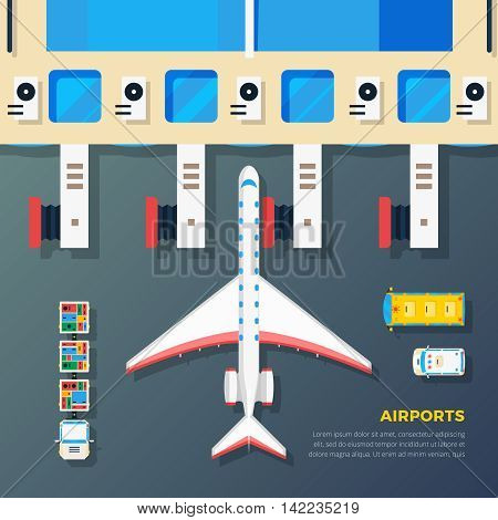 Airport apron planes airfield area with aircraft at jet bridge and ground srvice top view abstract vector illustration