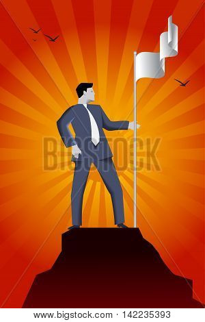 Business concept of reaching success peak and claiming ground. Confident businessman in suit setting flag of his team on the top of the mountain claiming the ground and conquering his market share.