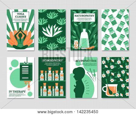 Alternative medicine cards set for yoga studio shop pharmacy relax or spa center flat vector illustration