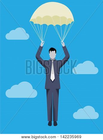 Business concept of golden parachute. Chief executive falling down with golden parachute symbolizing financial success and good profit even in crisis times.