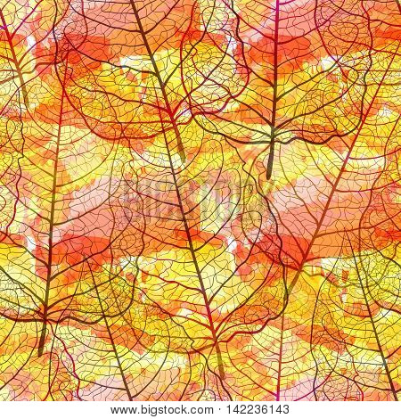 Seamless pattern with openwork leaves. Handmade autumn background. Vector EPS10