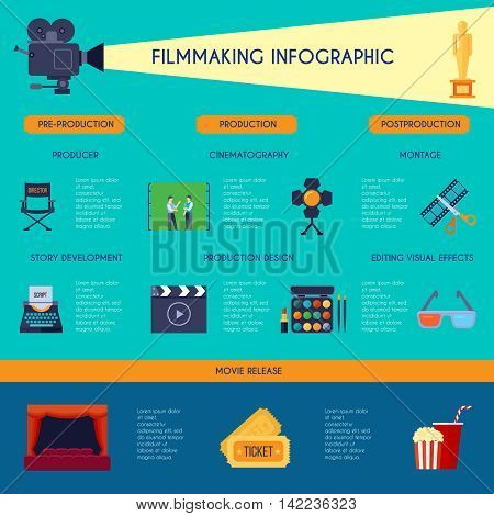 Filmmaking ibfographic flat retro style poster with movie making and watching classic symbols blue background vector illustration
