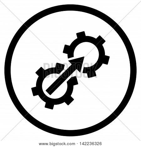 Gear Integration vector icon. Style is flat rounded iconic symbol, gear integration icon is drawn with black color on a white background.