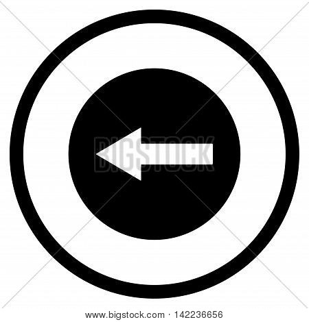 Left Rounded Arrow vector icon. Style is flat rounded iconic symbol, left rounded arrow icon is drawn with black color on a white background.