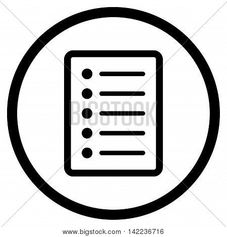 List Page vector icon. Style is flat rounded iconic symbol, list page icon is drawn with black color on a white background.
