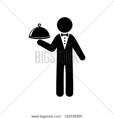 Simple black vector waiter icon isolated on white