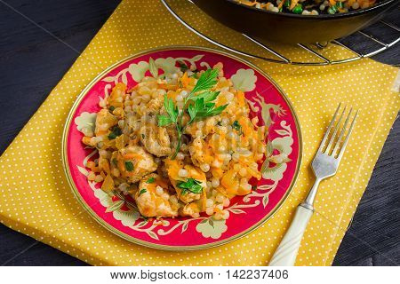 Shirataki Rice with chicken and carrots top view