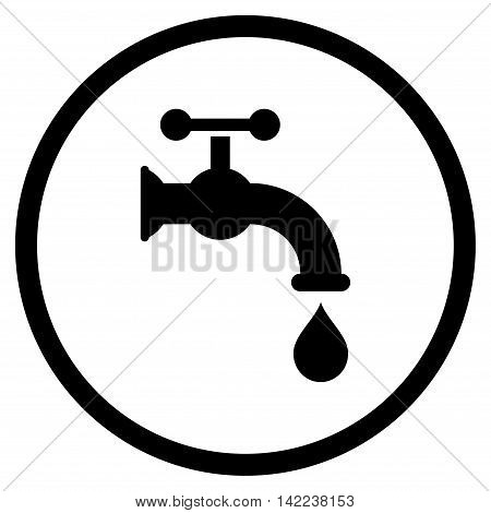 Water Tap vector icon. Style is flat rounded iconic symbol, water tap icon is drawn with black color on a white background.