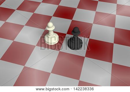 White And Black Pawn On A Noisy Red Chess Board 3d illustration