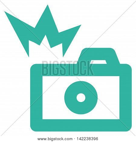 Camera Flash vector icon. Style is outline flat icon symbol, cyan color, white background.