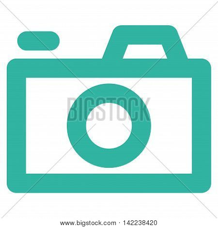 Camera vector icon. Style is linear flat icon symbol, cyan color, white background.