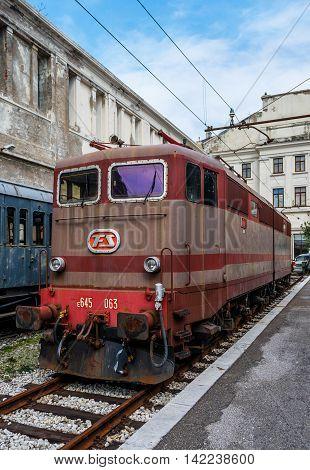 Trieste, Italy - March 2016: Electric locomotive in Railroad Museum (Museo Ferroviario di Trieste)