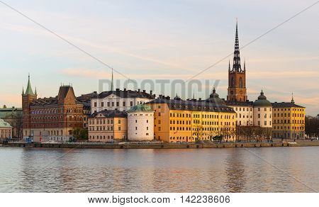 Stockholm, Sweden - October 2014: Evening cityscape of the historic city center in Stockholm and Riddarholm Church (Gamla Stan)