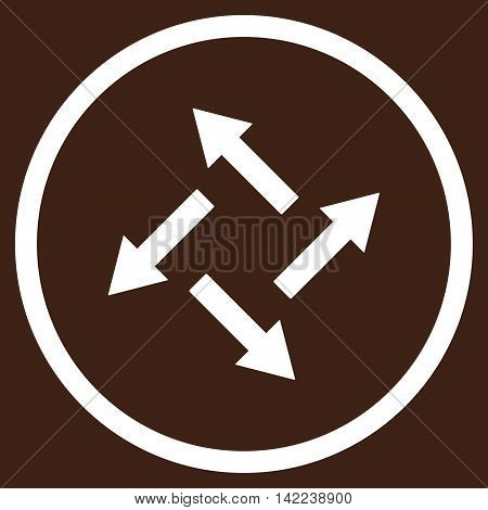 Centrifugal Arrows vector icon. Style is flat rounded iconic symbol, centrifugal arrows icon is drawn with white color on a brown background.