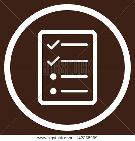 Checklist Page vector icon. Style is flat rounded iconic symbol, checklist page icon is drawn with white color on a brown background.