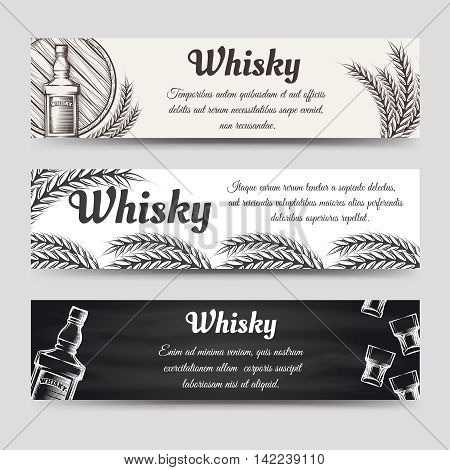 Horizontal whisky banners set. Banners vector with glasses bottles and barrel