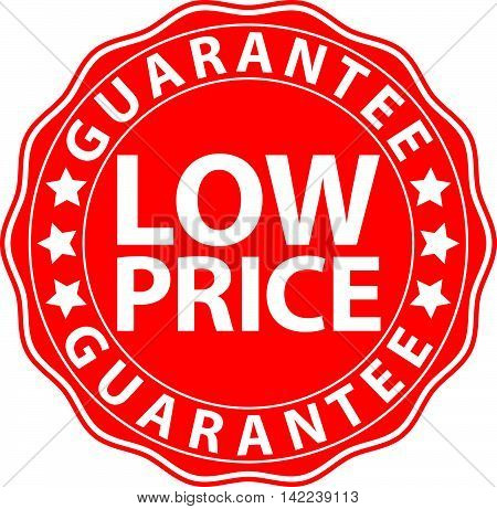 Low Price Guarantee Red Sign, Vector Illustration