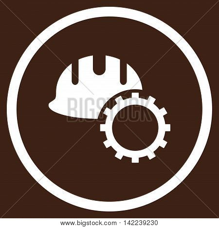 Development Hardhat vector icon. Style is flat rounded iconic symbol, development hardhat icon is drawn with white color on a brown background.