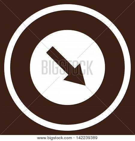 Down-Right Rounded Arrow vector icon. Style is flat rounded iconic symbol, down-right rounded arrow icon is drawn with white color on a brown background.