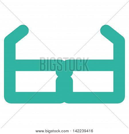 Spectacles vector icon. Style is outline flat icon symbol, cyan color, white background.