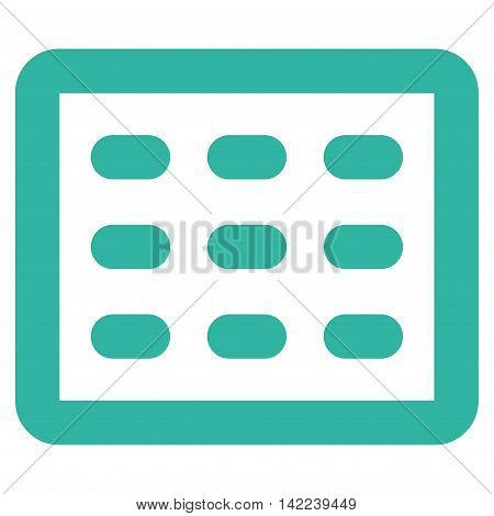 Table Grid vector icon. Style is contour flat icon symbol, cyan color, white background.