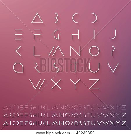 Hipster minimal slim alphabet typeface vector. Thin line futuristic font. English symbols set. Elegant typeset eps. Linear geometric latin letters. Light, medium and hard typefaces.
