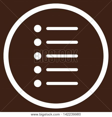 Items vector icon. Style is flat rounded iconic symbol, items icon is drawn with white color on a brown background.