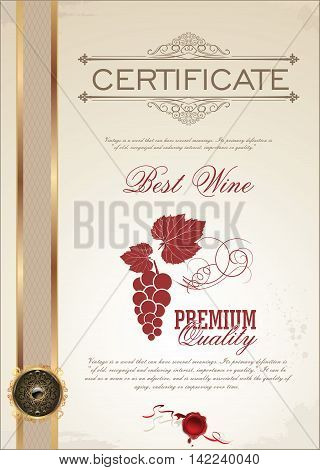 Vector illustration of gold detailed certificate for best wine